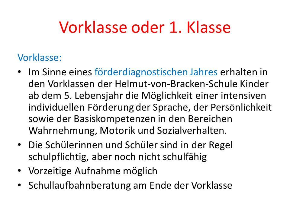 Vorklasse oder 1. Klasse Vorklasse: Im Sinne eines förderdiagnostischen Jahres erhalten in den Vorklassen der Helmut-von-Bracken-Schule Kinder ab dem