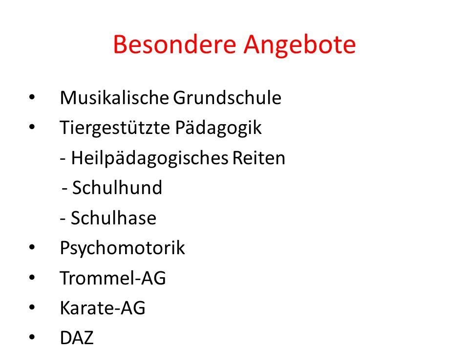 Besondere Angebote Musikalische Grundschule Tiergestützte Pädagogik - Heilpädagogisches Reiten - Schulhund - Schulhase Psychomotorik Trommel-AG Karate