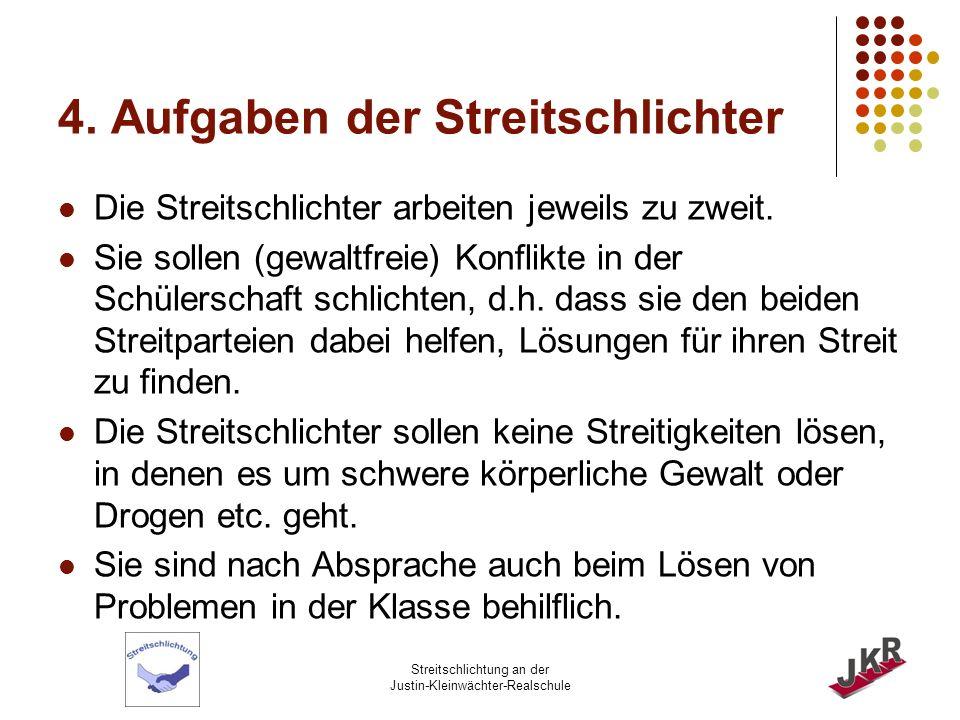 Streitschlichtung an der Justin-Kleinwächter-Realschule 5.