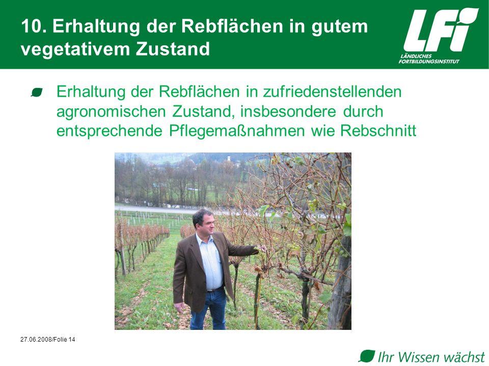 10. Erhaltung der Rebflächen in gutem vegetativem Zustand Erhaltung der Rebflächen in zufriedenstellenden agronomischen Zustand, insbesondere durch en
