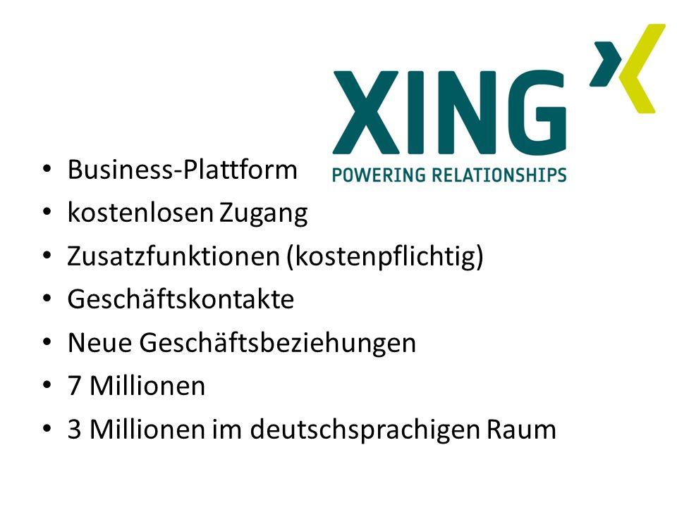 Business-Plattform kostenlosen Zugang Zusatzfunktionen (kostenpflichtig) Geschäftskontakte Neue Geschäftsbeziehungen 7 Millionen 3 Millionen im deutsc
