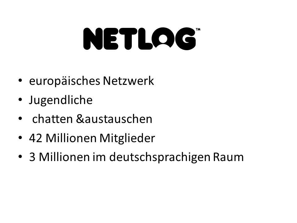 europäisches Netzwerk Jugendliche chatten &austauschen 42 Millionen Mitglieder 3 Millionen im deutschsprachigen Raum