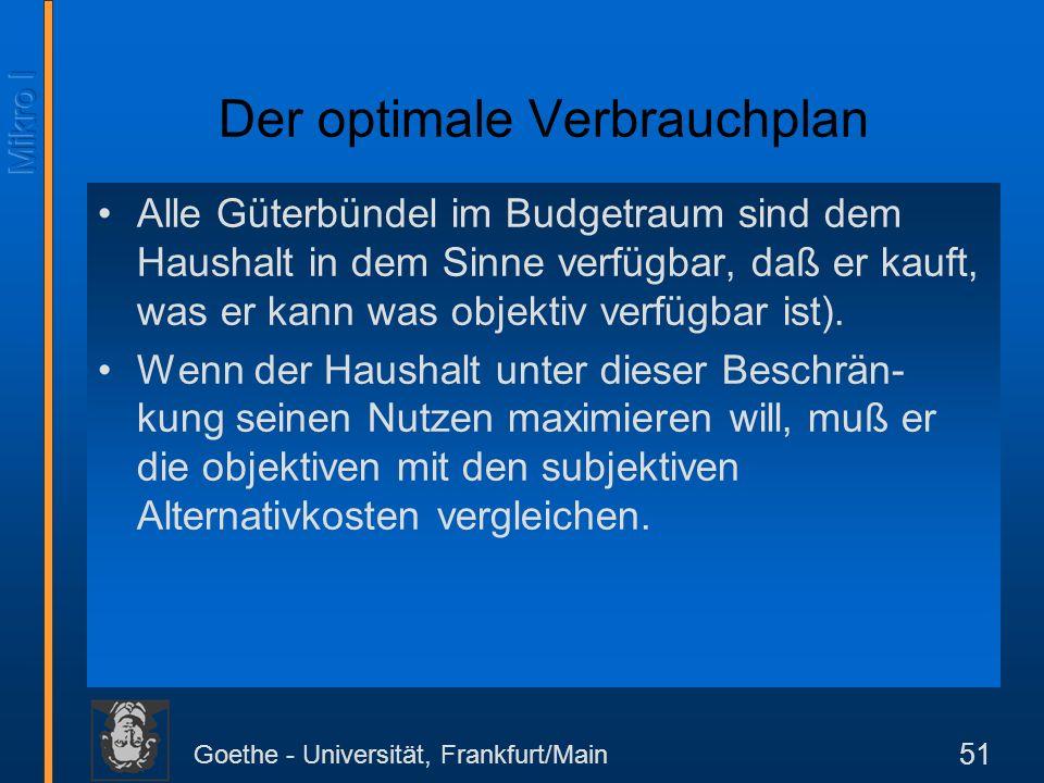 Goethe - Universität, Frankfurt/Main 51 Der optimale Verbrauchplan Alle Güterbündel im Budgetraum sind dem Haushalt in dem Sinne verfügbar, daß er kau