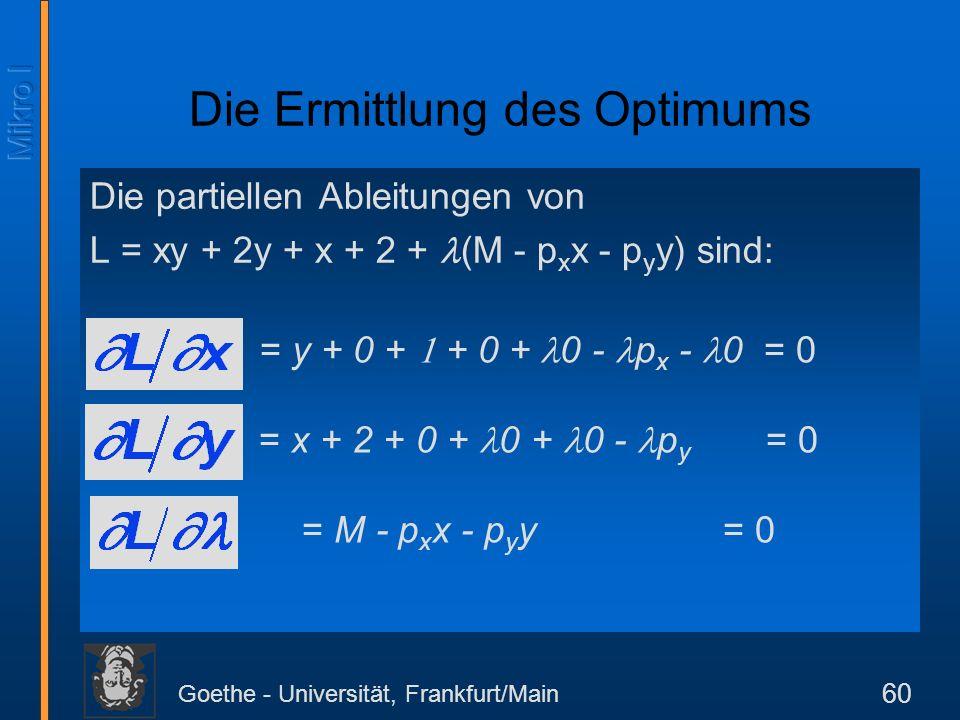 Goethe - Universität, Frankfurt/Main 60 Die partiellen Ableitungen von L = xy + 2y + x + 2 + (M - p x x - p y y) sind: Die Ermittlung des Optimums = y