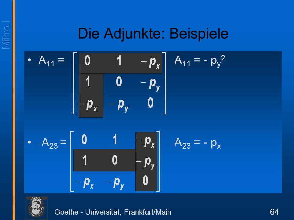 Goethe - Universität, Frankfurt/Main 64 A 11 = A 11 = - p y 2 A 23 = A 23 = - p x Die Adjunkte: Beispiele