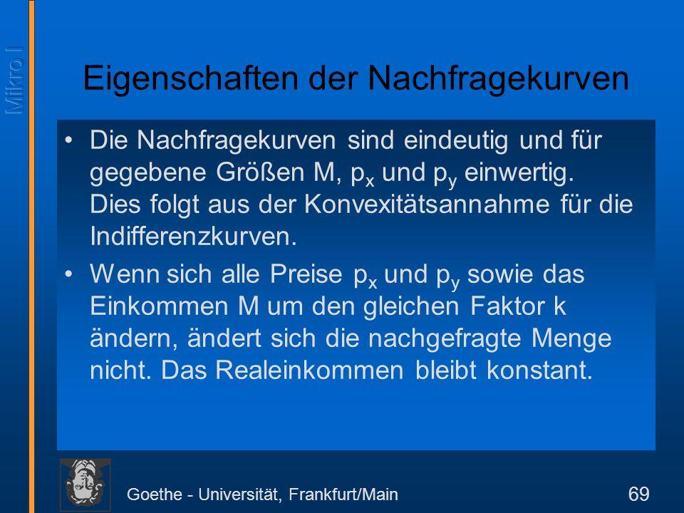 Goethe - Universität, Frankfurt/Main 69 Eigenschaften der Nachfragekurven Die Nachfragekurven sind eindeutig und für gegebene Größen M, p x und p y ei