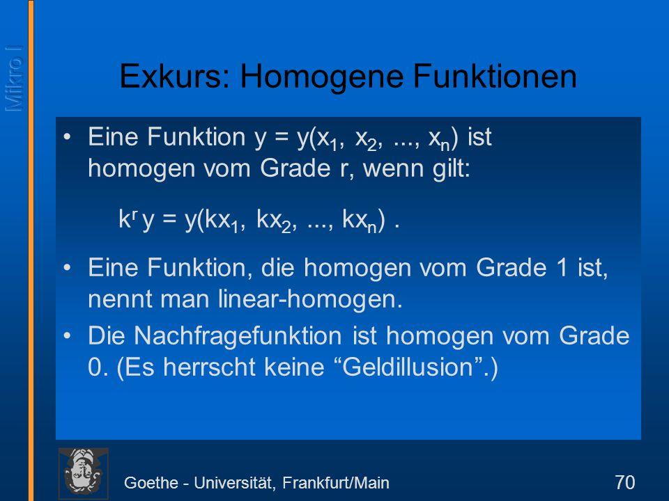 Goethe - Universität, Frankfurt/Main 70 Eine Funktion y = y(x 1, x 2,..., x n ) ist homogen vom Grade r, wenn gilt: k r y = y(kx 1, kx 2,..., kx n ).