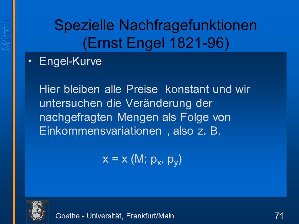 Goethe - Universität, Frankfurt/Main 71 Engel-Kurve Hier bleiben alle Preise konstant und wir untersuchen die Veränderung der nachgefragten Mengen als