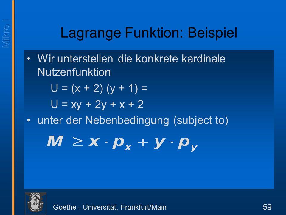 Goethe - Universität, Frankfurt/Main 59 Wir unterstellen die konkrete kardinale Nutzenfunktion U = (x + 2) (y + 1) = U = xy + 2y + x + 2 unter der Neb