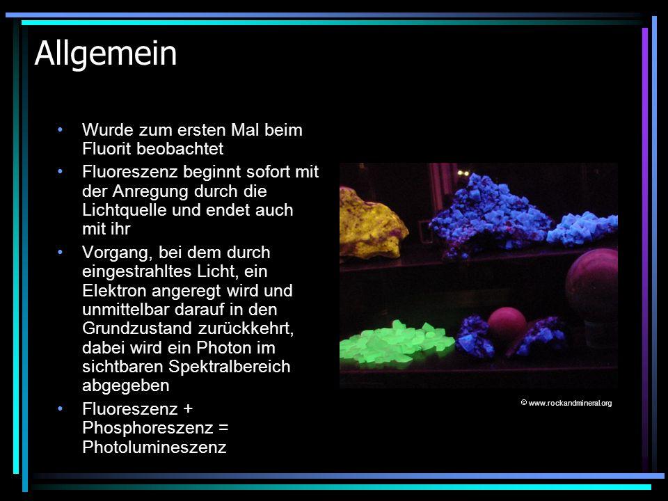 Allgemein Wurde zum ersten Mal beim Fluorit beobachtet Fluoreszenz beginnt sofort mit der Anregung durch die Lichtquelle und endet auch mit ihr Vorgan