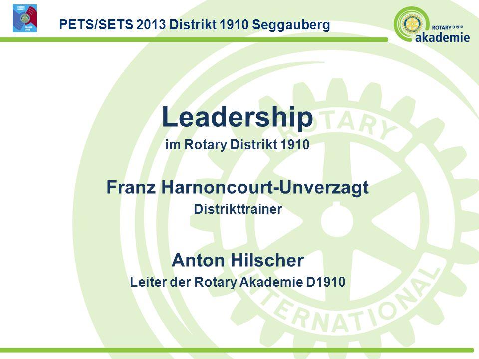 Leadership im Rotary Distrikt 1910 Franz Harnoncourt-Unverzagt Distrikttrainer Anton Hilscher Leiter der Rotary Akademie D1910 PETS/SETS 2013 Distrikt