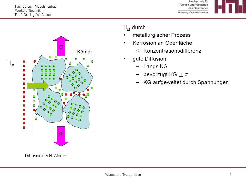 Fachbereich Maschinenbau Werkstofftechnik Prof. Dr.- Ing. W. Calles Wasserstoffverspröden1 H at Körner σ σ H at durch metallurgischer Prozess Korrosio