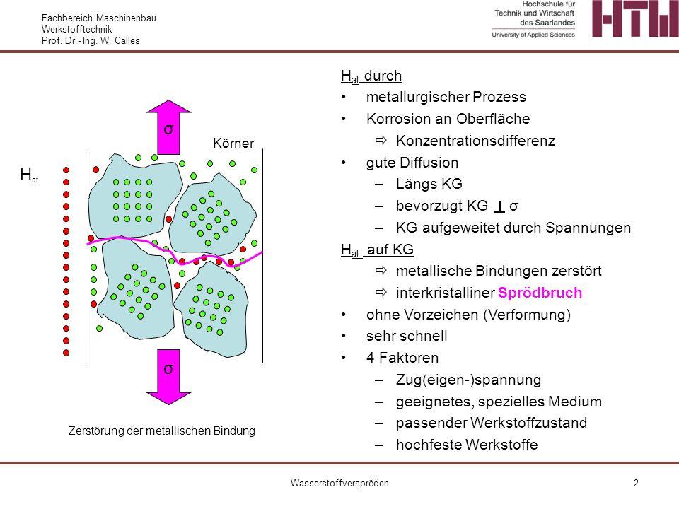 Fachbereich Maschinenbau Werkstofftechnik Prof. Dr.- Ing. W. Calles Wasserstoffverspröden2 H at durch metallurgischer Prozess Korrosion an Oberfläche