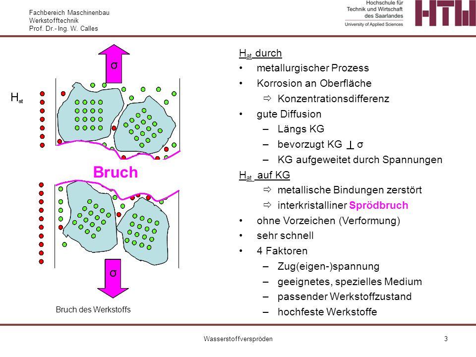 Fachbereich Maschinenbau Werkstofftechnik Prof. Dr.- Ing. W. Calles Wasserstoffverspröden3 Bruch H at durch metallurgischer Prozess Korrosion an Oberf