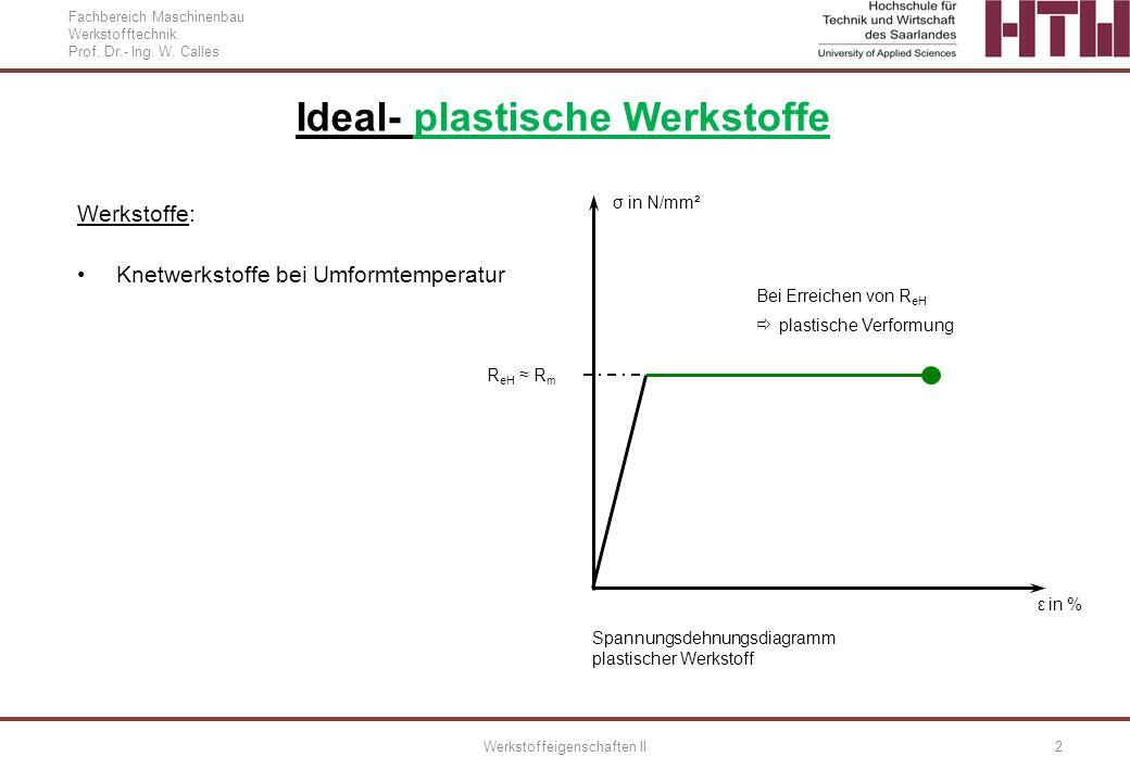 Fachbereich Maschinenbau Werkstofftechnik Prof. Dr.- Ing. W. Calles Werkstoffeigenschaften II2 Ideal- plastische Werkstoffe Werkstoffe: Knetwerkstoffe