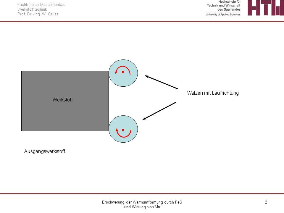Erschwerung der Warmumformung durch FeS und Wirkung von Mn 2 Fachbereich Maschinenbau Werkstofftechnik Prof. Dr.- Ing. W. Calles Walzen mit Laufrichtu