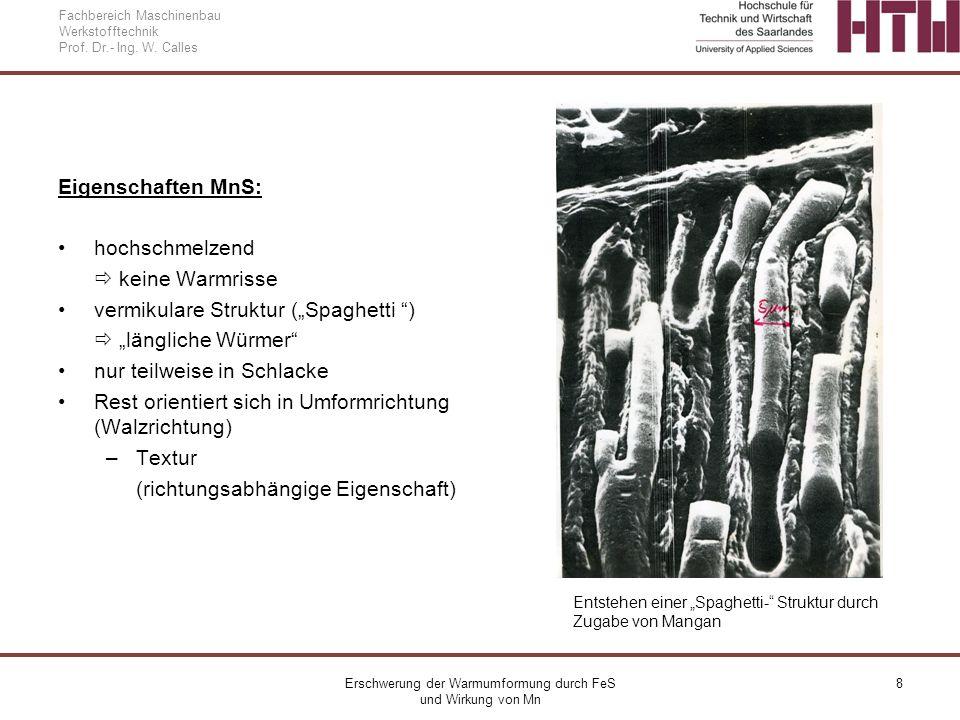 Erschwerung der Warmumformung durch FeS und Wirkung von Mn 8 Fachbereich Maschinenbau Werkstofftechnik Prof. Dr.- Ing. W. Calles Eigenschaften MnS: ho