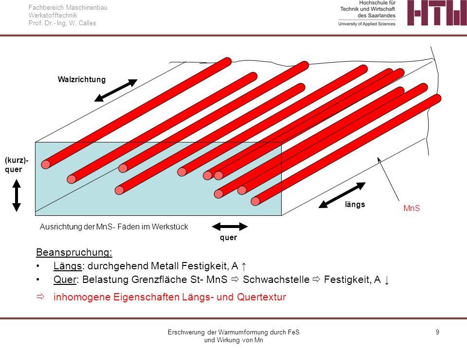 Erschwerung der Warmumformung durch FeS und Wirkung von Mn 9 Fachbereich Maschinenbau Werkstofftechnik Prof. Dr.- Ing. W. Calles MnS Walzrichtung Bean