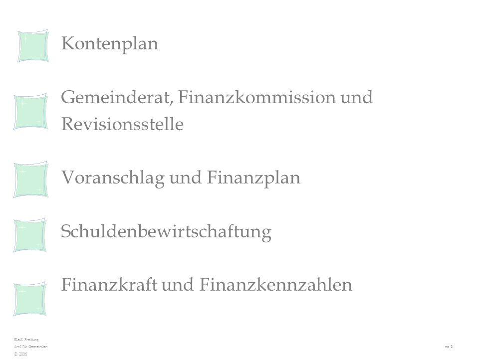 Aufgaben und Zuständigkeiten Die Finanzkommission verfügt nicht über Entscheidkompetenz gibt ihre Stellungnahmen unter dem finanziellen Gesichtspunkt ab prüft den Voranschlag nimmt Stellung zum Finanzplan und zu dessen Nachführungen (gegenüber Gemeinderat und Legislative) prüft die Investitionsvorhaben (besondere Beschlüsse) schlägt zu Handen der Legislative die zu wählende Revisionsstelle vor äussert sich zum Revisionsbericht der Revisionsstelle prüft die Anträge auf Änderung des Steuerfusses Etat de Fribourg Service des communes no 13 © 2006