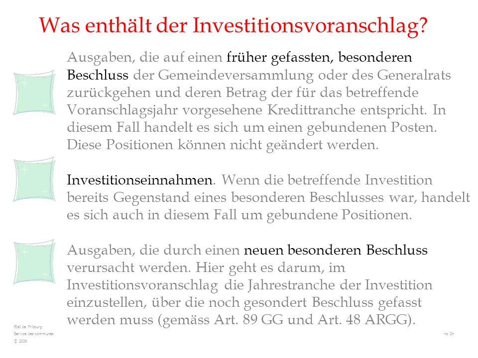 Was enthält der Investitionsvoranschlag? Ausgaben, die auf einen früher gefassten, besonderen Beschluss der Gemeindeversammlung oder des Generalrats z