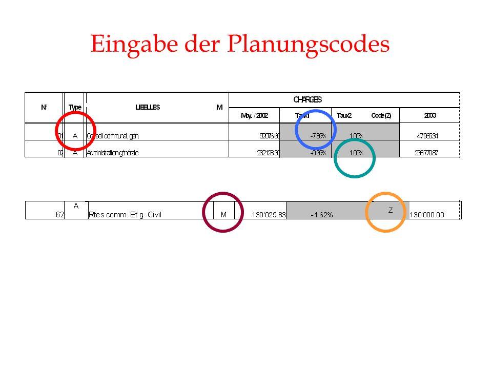 Eingabe der Planungscodes