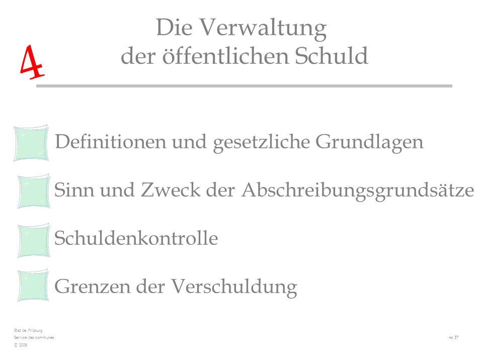 Definitionen und gesetzliche Grundlagen Sinn und Zweck der Abschreibungsgrundsätze Schuldenkontrolle Grenzen der Verschuldung Die Verwaltung der öffen