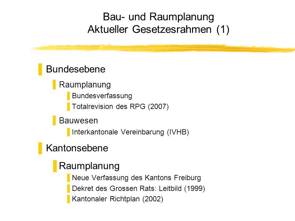 Bau- und Raumplanung Aktueller Gesetzesrahmen (1) Bundesebene Raumplanung Bundesverfassung Totalrevision des RPG (2007) Bauwesen Interkantonale Verein
