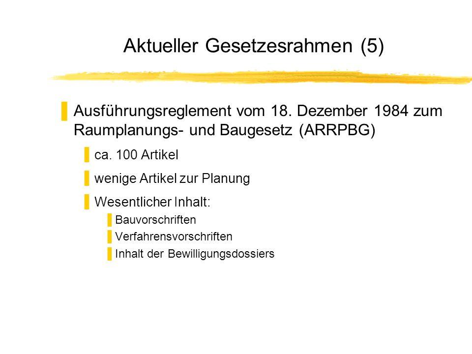 Aktueller Gesetzesrahmen (5) Ausführungsreglement vom 18. Dezember 1984 zum Raumplanungs- und Baugesetz (ARRPBG) ca. 100 Artikel wenige Artikel zur Pl
