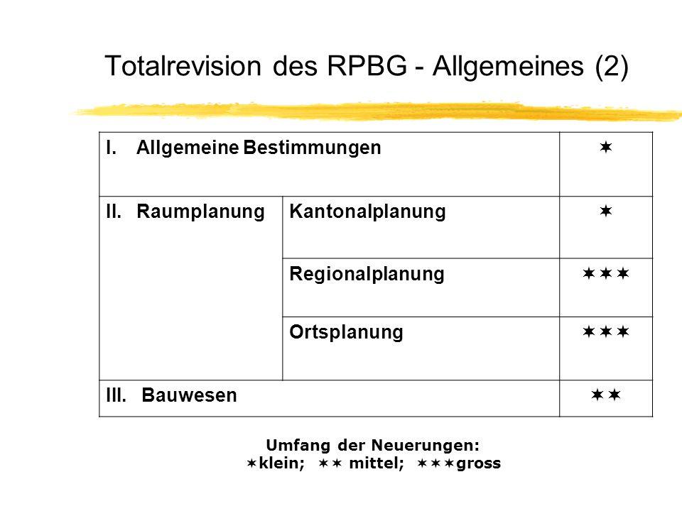 Totalrevision des RPBG - Allgemeines (2) I.Allgemeine Bestimmungen II.RaumplanungKantonalplanung Regionalplanung Ortsplanung III. Bauwesen Umfang der