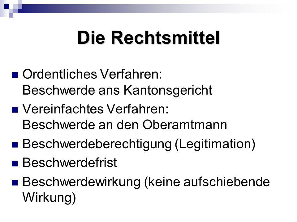 Die Rechtsmittel Ordentliches Verfahren: Beschwerde ans Kantonsgericht Vereinfachtes Verfahren: Beschwerde an den Oberamtmann Beschwerdeberechtigung (