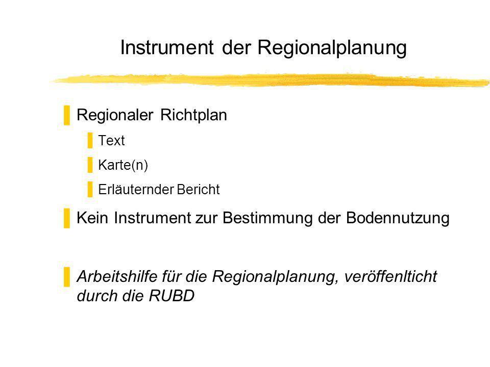Instrument der Regionalplanung Regionaler Richtplan Text Karte(n) Erläuternder Bericht Kein Instrument zur Bestimmung der Bodennutzung Arbeitshilfe für die Regionalplanung, veröffenlticht durch die RUBD