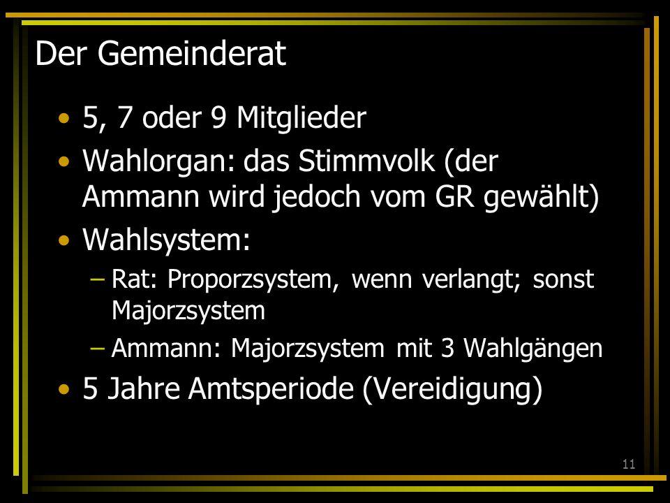11 Der Gemeinderat 5, 7 oder 9 Mitglieder Wahlorgan: das Stimmvolk (der Ammann wird jedoch vom GR gewählt) Wahlsystem: –Rat: Proporzsystem, wenn verla