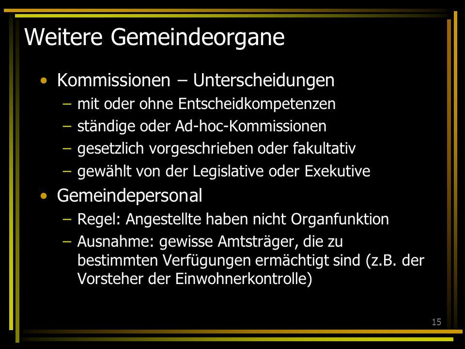 15 Weitere Gemeindeorgane Kommissionen – Unterscheidungen –mit oder ohne Entscheidkompetenzen –ständige oder Ad-hoc-Kommissionen –gesetzlich vorgeschr