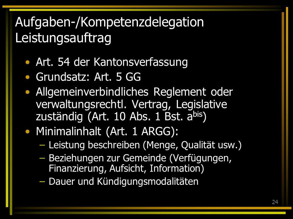 24 Aufgaben-/Kompetenzdelegation Leistungsauftrag Art. 54 der Kantonsverfassung Grundsatz: Art. 5 GG Allgemeinverbindliches Reglement oder verwaltungs