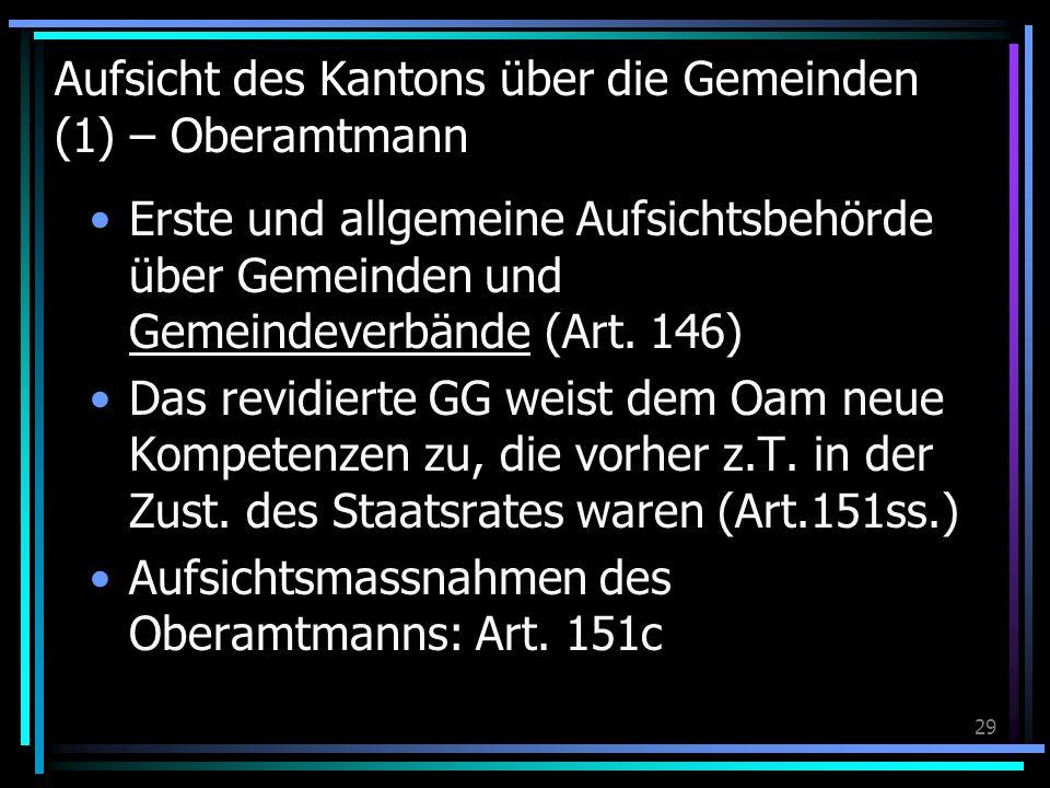 29 Aufsicht des Kantons über die Gemeinden (1) – Oberamtmann Erste und allgemeine Aufsichtsbehörde über Gemeinden und Gemeindeverbände (Art. 146) Das