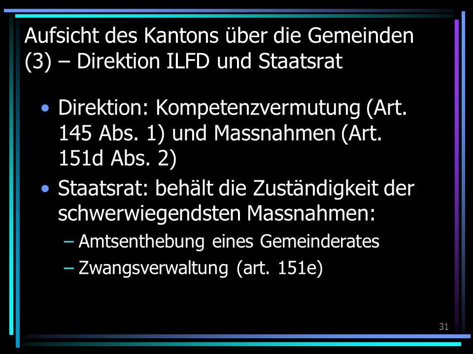 31 Aufsicht des Kantons über die Gemeinden (3) – Direktion ILFD und Staatsrat Direktion: Kompetenzvermutung (Art. 145 Abs. 1) und Massnahmen (Art. 151