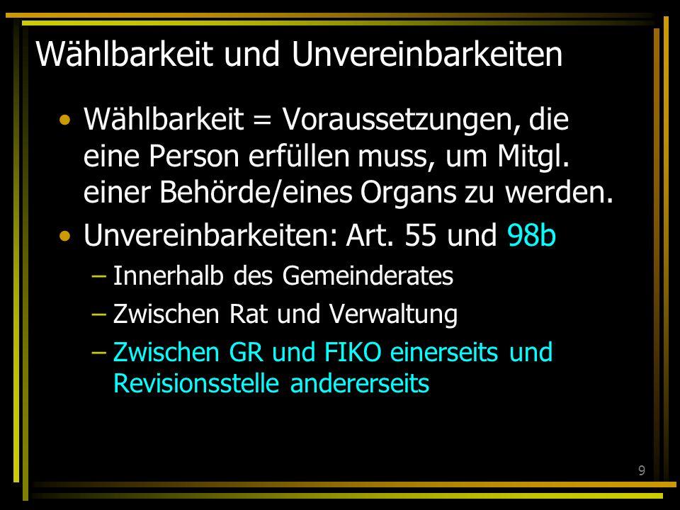 9 Wählbarkeit und Unvereinbarkeiten Wählbarkeit = Voraussetzungen, die eine Person erfüllen muss, um Mitgl. einer Behörde/eines Organs zu werden. Unve