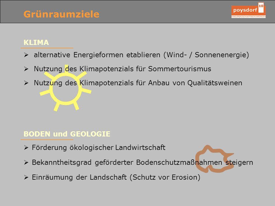 Grünraumziele KLIMA alternative Energieformen etablieren (Wind- / Sonnenenergie) Nutzung des Klimapotenzials für Sommertourismus Nutzung des Klimapote
