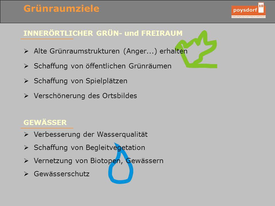 Grünraumziele INNERÖRTLICHER GRÜN- und FREIRAUM Alte Grünraumstrukturen (Anger...) erhalten Schaffung von öffentlichen Grünräumen Schaffung von Spielp