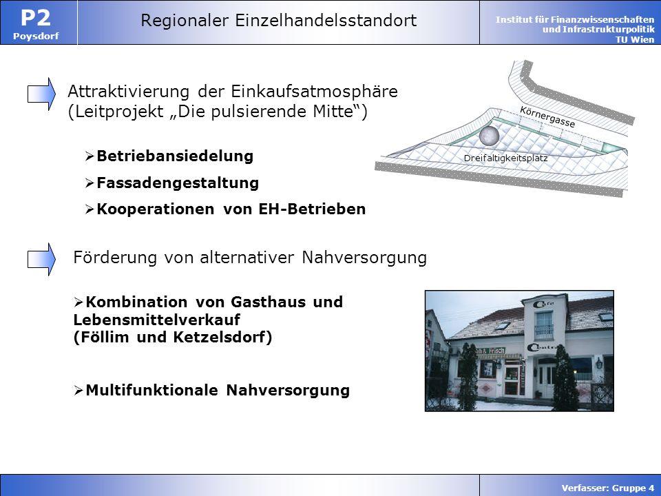 Institut für Finanzwissenschaften und Infrastrukturpolitik TU Wien P2 Poysdorf Verfasser: Gruppe 4 Dreifaltigkeitsplatz Körnergasse Regionaler Einzelh