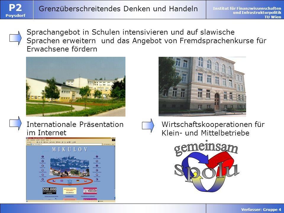 Institut für Finanzwissenschaften und Infrastrukturpolitik TU Wien P2 Poysdorf Verfasser: Gruppe 4 Grenzüberschreitendes Denken und Handeln Sprachange