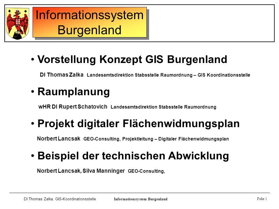 Informationssystem Burgenland DI Thomas Zalka, GIS-KoordinationsstelleInformationssystem Burgenland Folie 1 Vorstellung Konzept GIS Burgenland DI Thom