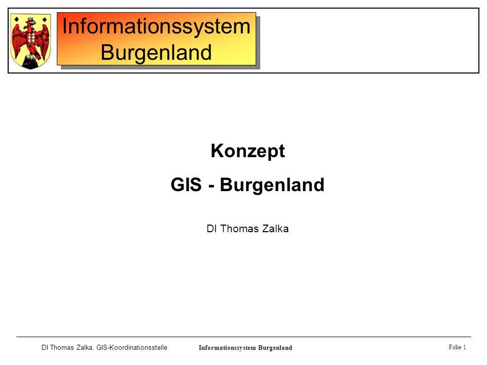 Informationssystem Burgenland DI Thomas Zalka, GIS-KoordinationsstelleInformationssystem Burgenland Folie 1 Konzept GIS - Burgenland DI Thomas Zalka