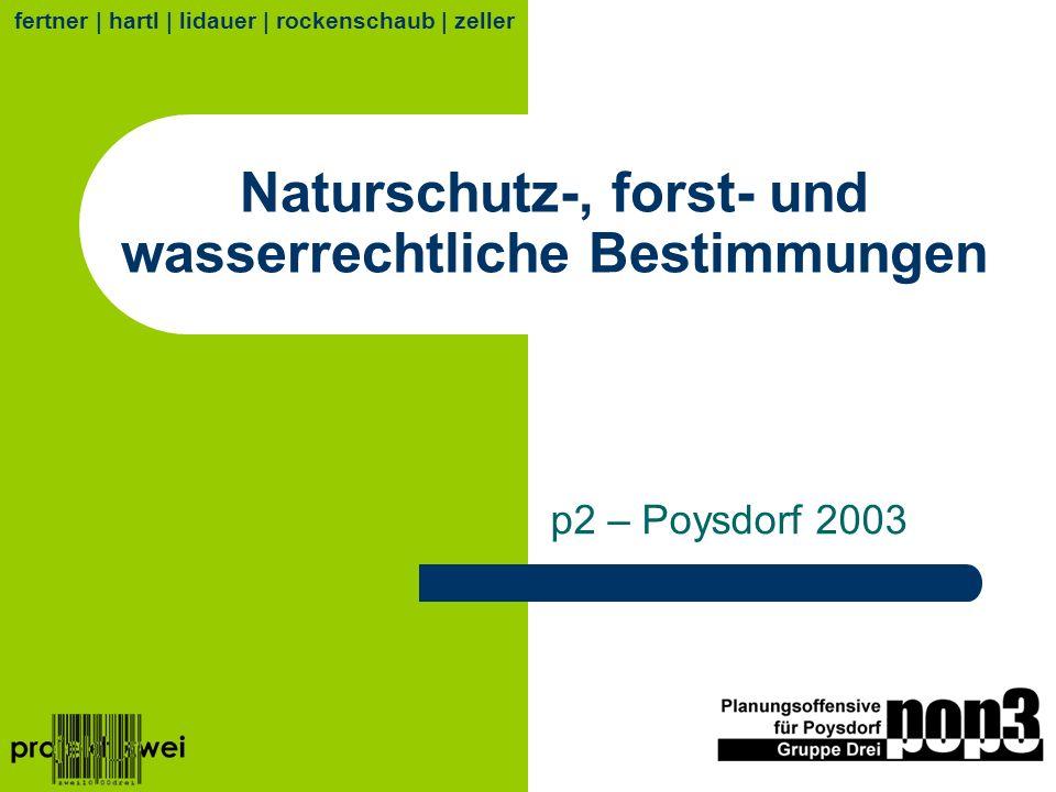 Naturschutz-, forst- und wasserrechtliche Bestimmungen p2 – Poysdorf 2003 fertner | hartl | lidauer | rockenschaub | zeller