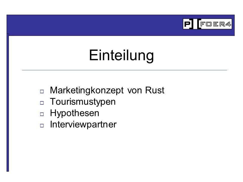 Marketingkonzept von Rust Tourismustypen Hypothesen Interviewpartner Einteilung