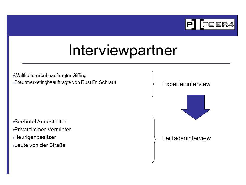 Interviewpartner Weltkulturerbebeauftragter Giffing Stadtmarketingbeauftragte von Rust Fr. Schrauf Seehotel Angestellter Privatzimmer Vermieter Heurig