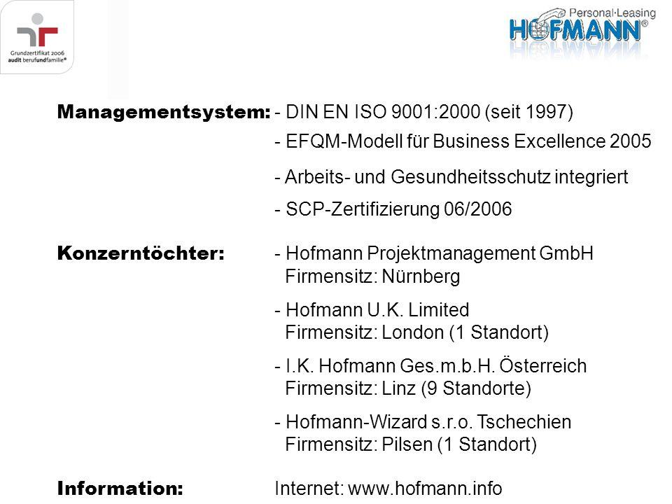 Managementsystem: - DIN EN ISO 9001:2000 (seit 1997) - EFQM-Modell für Business Excellence 2005 - Arbeits- und Gesundheitsschutz integriert - SCP-Zert