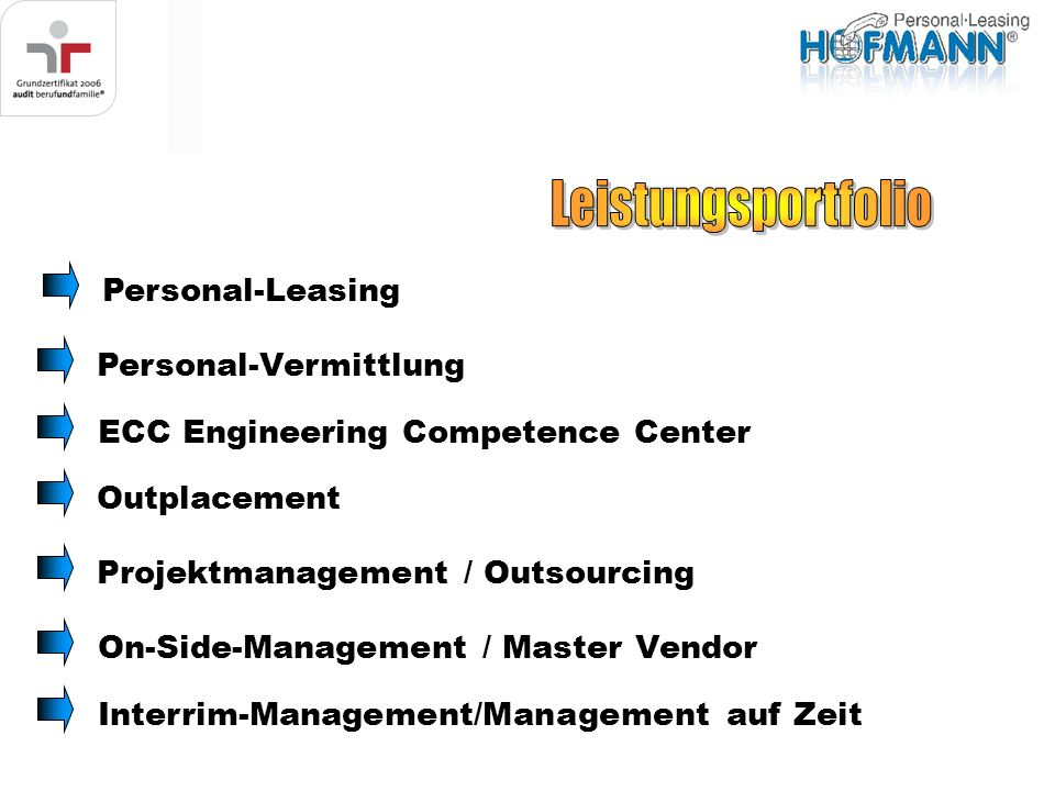 Personal-LeasingPersonal-VermittlungOn-Side-Management / Master VendorOutplacementProjektmanagement / OutsourcingECC Engineering Competence CenterInte