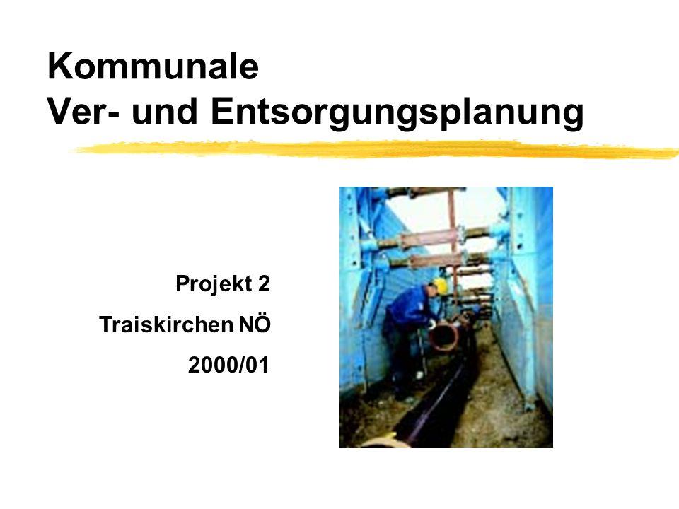 Kommunale Ver- und EntsorgungsplanungProjekt 2Traiskirchen (NÖ) Wasser und Abwasser zWasserleitungsverband Triestingtal- und Südbahngemeinden yseit 1929 y32.500 Hausanschlüsse y1m³ Wasser kostet 6,60 ATS (entspr.