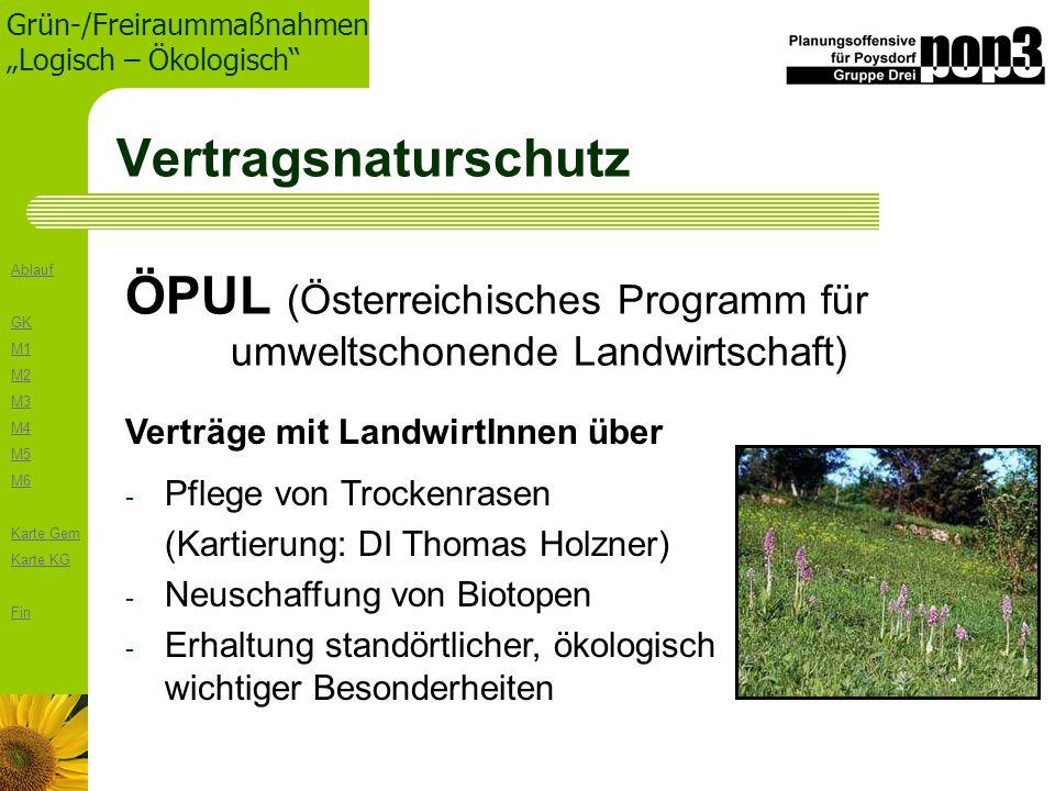 Ablauf GK M1 M2 M3 M4 M5 M6 Karte Gem Karte KG Fin Grün-/Freiraummaßnahmen Logisch – Ökologisch Vertragsnaturschutz ÖPUL (Österreichisches Programm fü